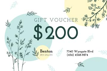 Spa Salon Offer Plant Sketches | Gift Certificate Template