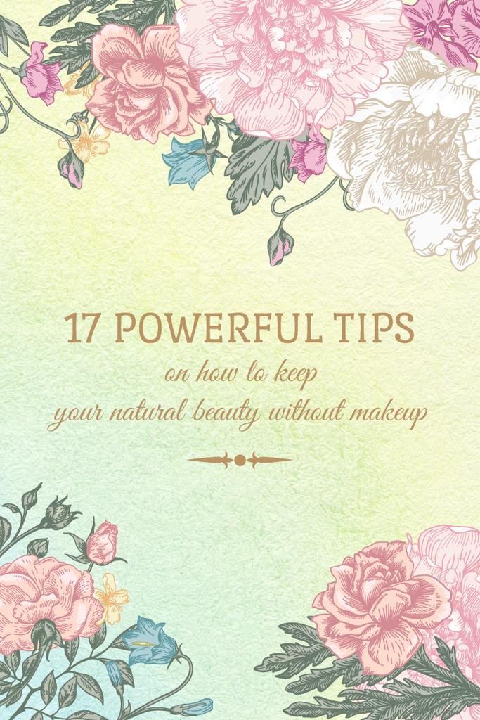 Beauty Tips Tender Flowers Frame | Pinterest Template — Crear un diseño