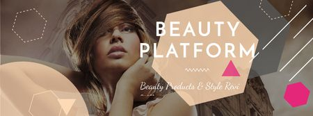 Beauty Platform promotion with Attractive Woman Facebook coverデザインテンプレート