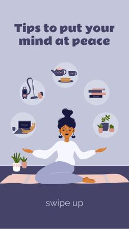 Template di design Woman meditating at Home Instagram Story