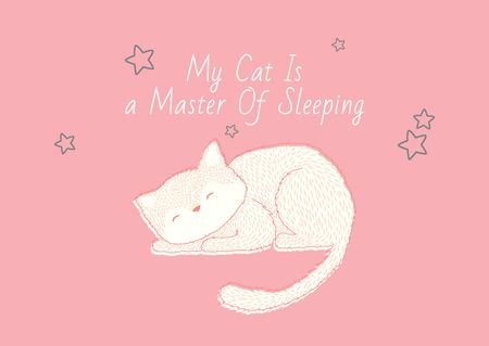 Plantilla de diseño de Cute Cat Sleeping in Pink Postcard