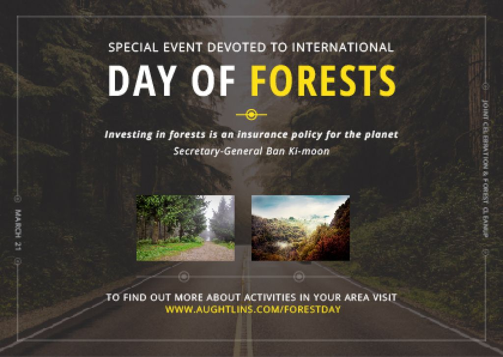 International Day of Forests Event Forest Road View — ein Design erstellen