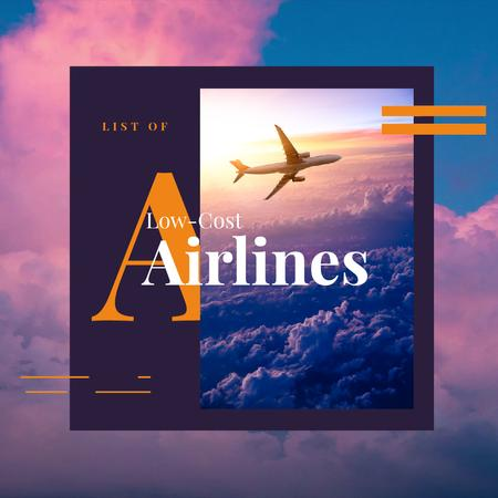Airlines Offer with Plane Flying in Purple Sky Animated Post Modelo de Design