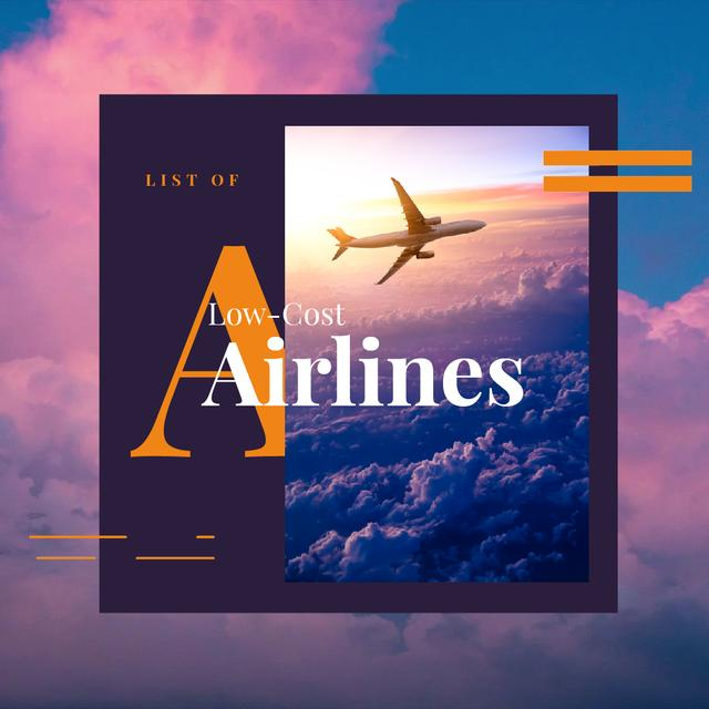 Plantilla de diseño de Airlines Offer with Plane Flying in Purple Sky Animated Post