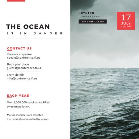 Ontwerpsjabloon van Instagram AD van Ecology Conference Stormy Sea Waves
