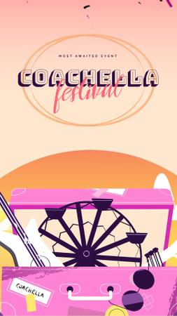 Ontwerpsjabloon van Instagram Video Story van Coachella Invitation Festival Attributes