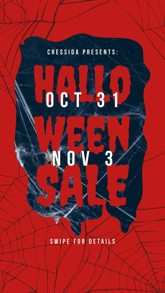Halloween Sale Announcement Scary Spider Web | Stories Template — Створити дизайн