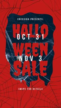 Halloween Sale Announcement Scary Spider Web | Stories Template