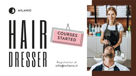 Hairdressing Courses stylist with client in Salon FB event cover Modelo de Design