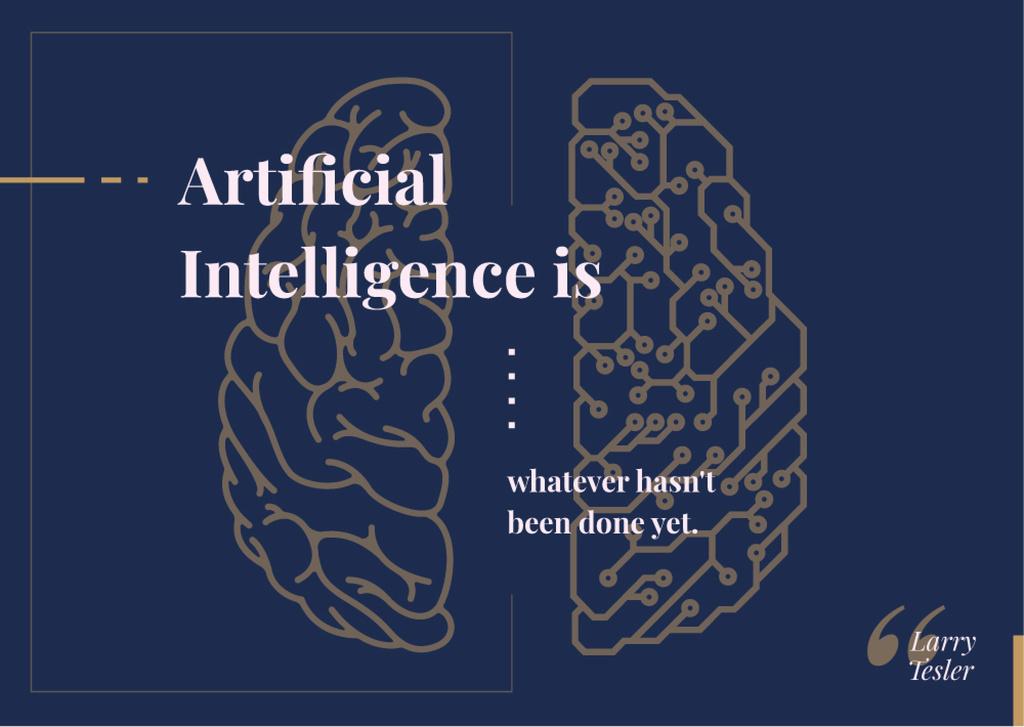 Ontwerpsjabloon van Postcard van Artificial intelligence concept with Brain illustration