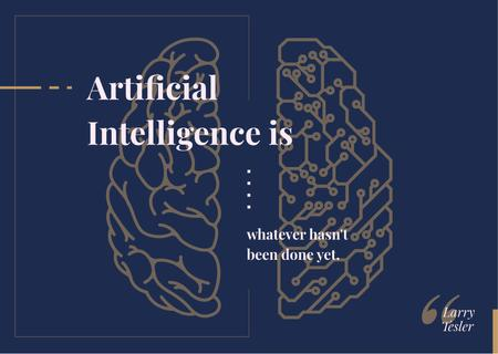 Plantilla de diseño de Artificial intelligence concept with Brain illustration Postcard
