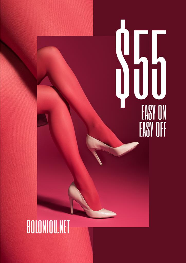 Fashion Sale with female legs in Pink tights — Создать дизайн