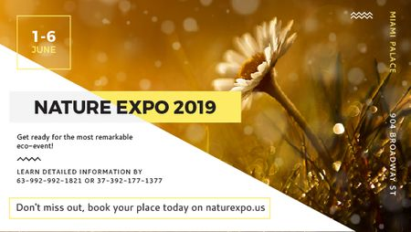 Plantilla de diseño de Nature Expo announcement Blooming Daisy Flower Title