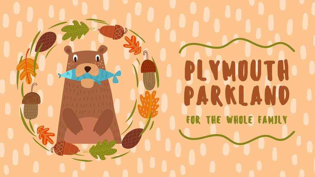 Park Invitation Bear with Fish in Autumn Frame — Crear un diseño