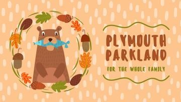Park Invitation Bear with Fish in Autumn Frame