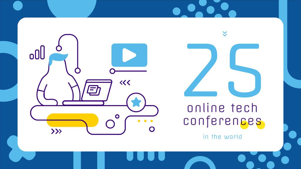 Online Conference invitation with Man at workplace — Crea un design