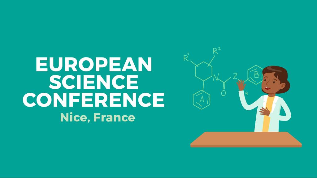 Science Conference Invitation Woman by Molecule Structure — Maak een ontwerp