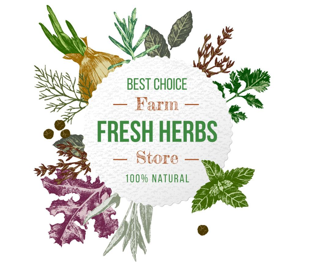 Pharmacy Ad with Natural Herbs Frame | Facebook Post Template — Створити дизайн
