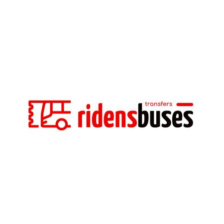Transfer Services Ad with Bus Icon in Red Logo – шаблон для дизайна