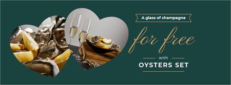 Designvorlage Restaurant Offer with Oysters für Facebook cover