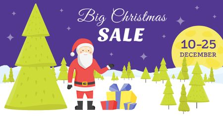 Plantilla de diseño de Big Christmas sale Ad with Cute Santa Facebook AD