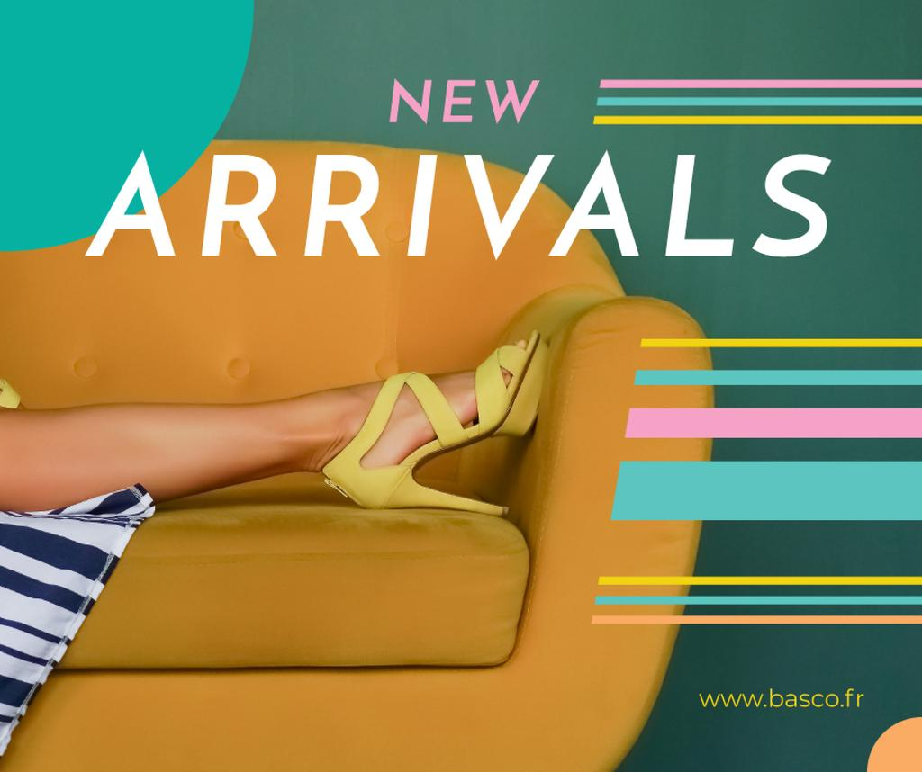 Fashion Ad with Female Legs in Heeled Shoes Facebook Modelo de Design