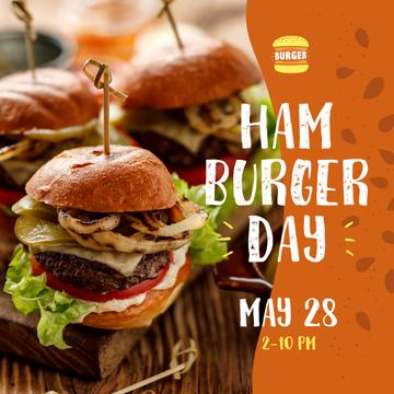 Hamburger Day Menu Hot Mouthwatering Burgers | Instagram Post Template