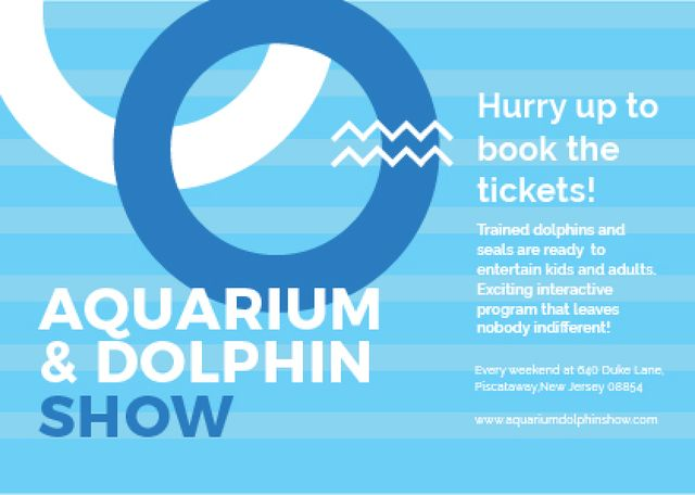Aquarium & Dolphin show Announcement Postcard Design Template