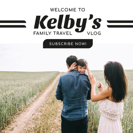 Family walking on the field Instagram Design Template