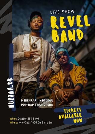 Plantilla de diseño de Rap Live Show Invitation Performers Band Flayer