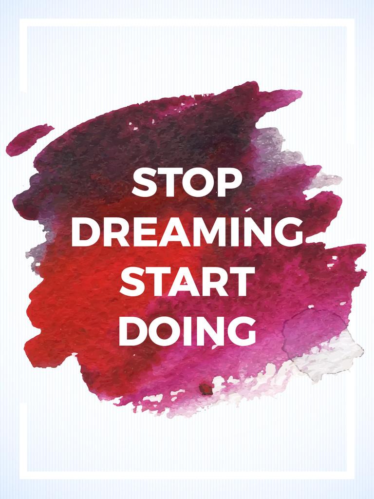 Motivational Quote on Watercolor Blot in Red — ein Design erstellen