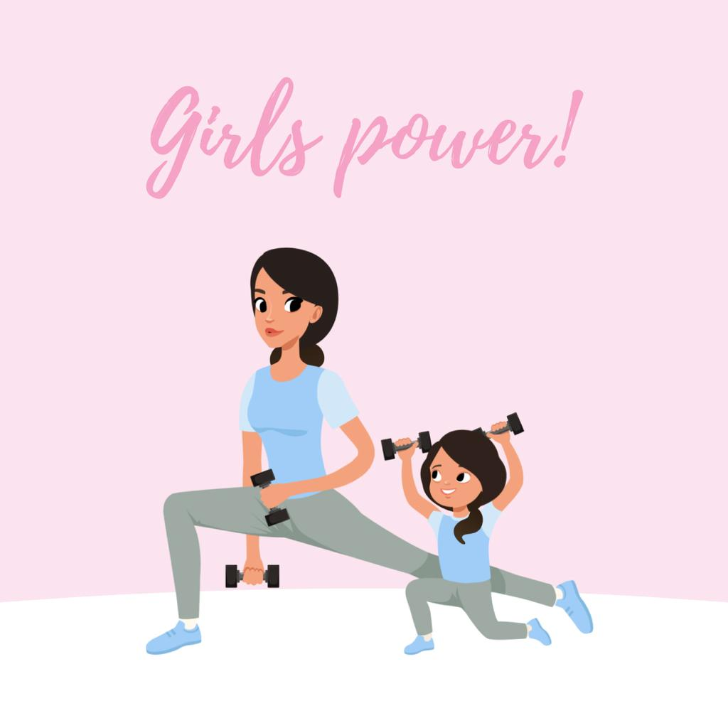 Mother and daughter training in gym — Створити дизайн