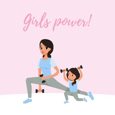 Mother and daughter training in gym Animated Postデザインテンプレート