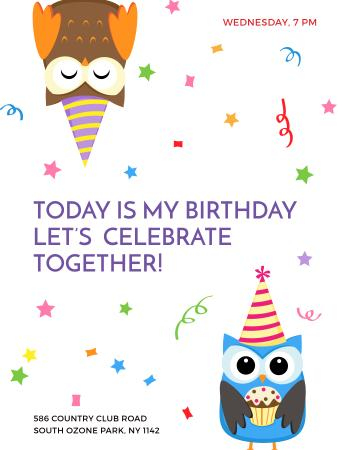 Birthday Invitation with Party Owls Poster US – шаблон для дизайну