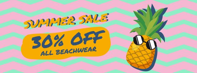 Ontwerpsjabloon van Facebook Video cover van Cartoon pineapple in sunglasses