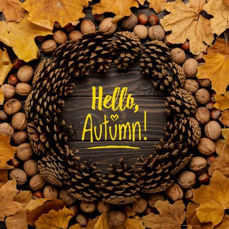 Autumn Inscription in circle of fir cones Instagram Modelo de Design