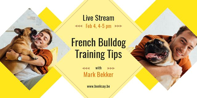Dog Training Tips with Man with French Bulldog Twitterデザインテンプレート