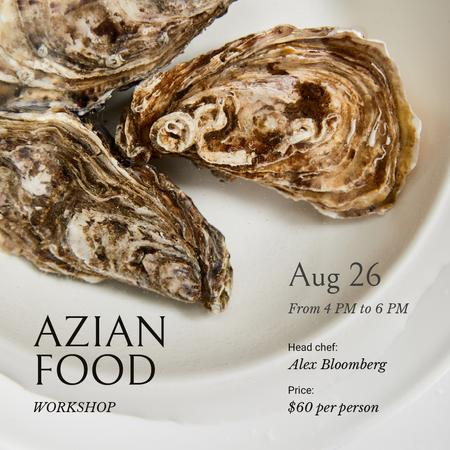 Azian Food Ad with Oyster dish Instagram Design Template