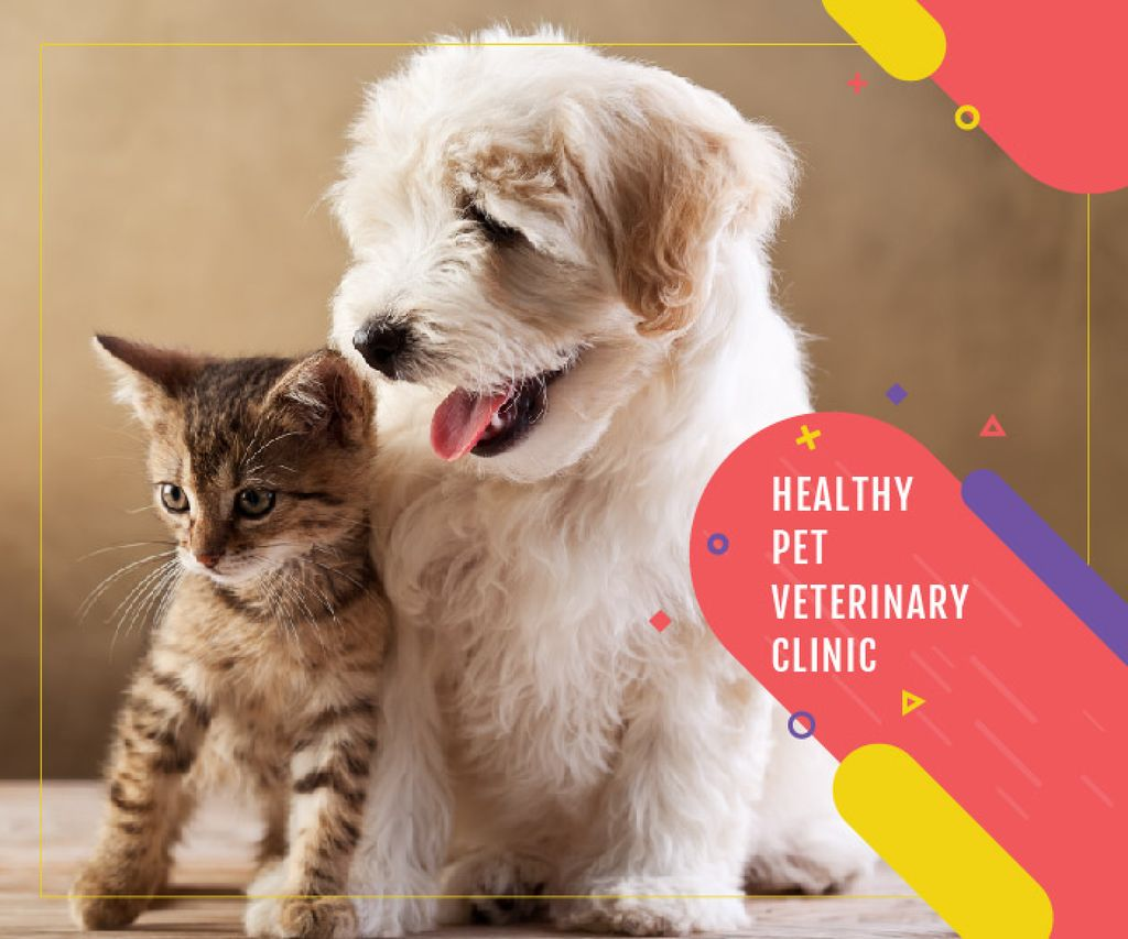 Healthy pet veterinary clinic Large Rectangle Modelo de Design
