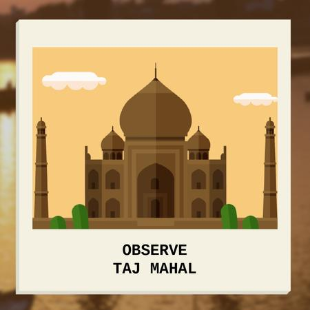 Travelling Tour Ad with Taj Mahal Building Animated Post Design Template