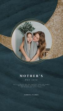 Mother's Day Greeting Girl Hugging with Her Mother | Vertical Video Template