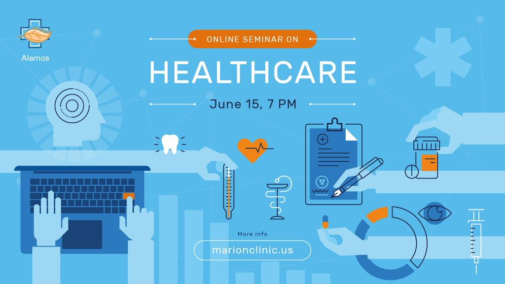 Healthcare Event Medicines and Doctor Icons — Modelo de projeto