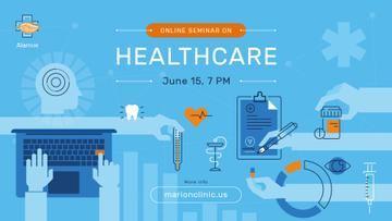 Healthcare Event Medicines and Doctor Icons | Facebook Event Cover Template