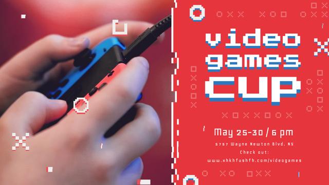 Video Games Ad Hands Holding Gamepad Full HD video Tasarım Şablonu
