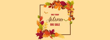 Autumn Sale Announcement in Leaves Frame Facebook Video cover Modelo de Design