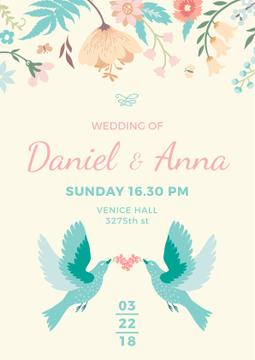 Wedding Invitation with Loving Birds and Flowers Poster