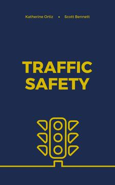 Traffic Safety Lights Icon on Blue | eBook Template