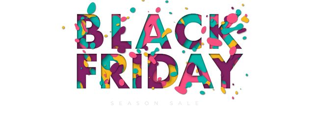 Modèle de visuel Black Friday sale colorful inscription - Facebook Video cover