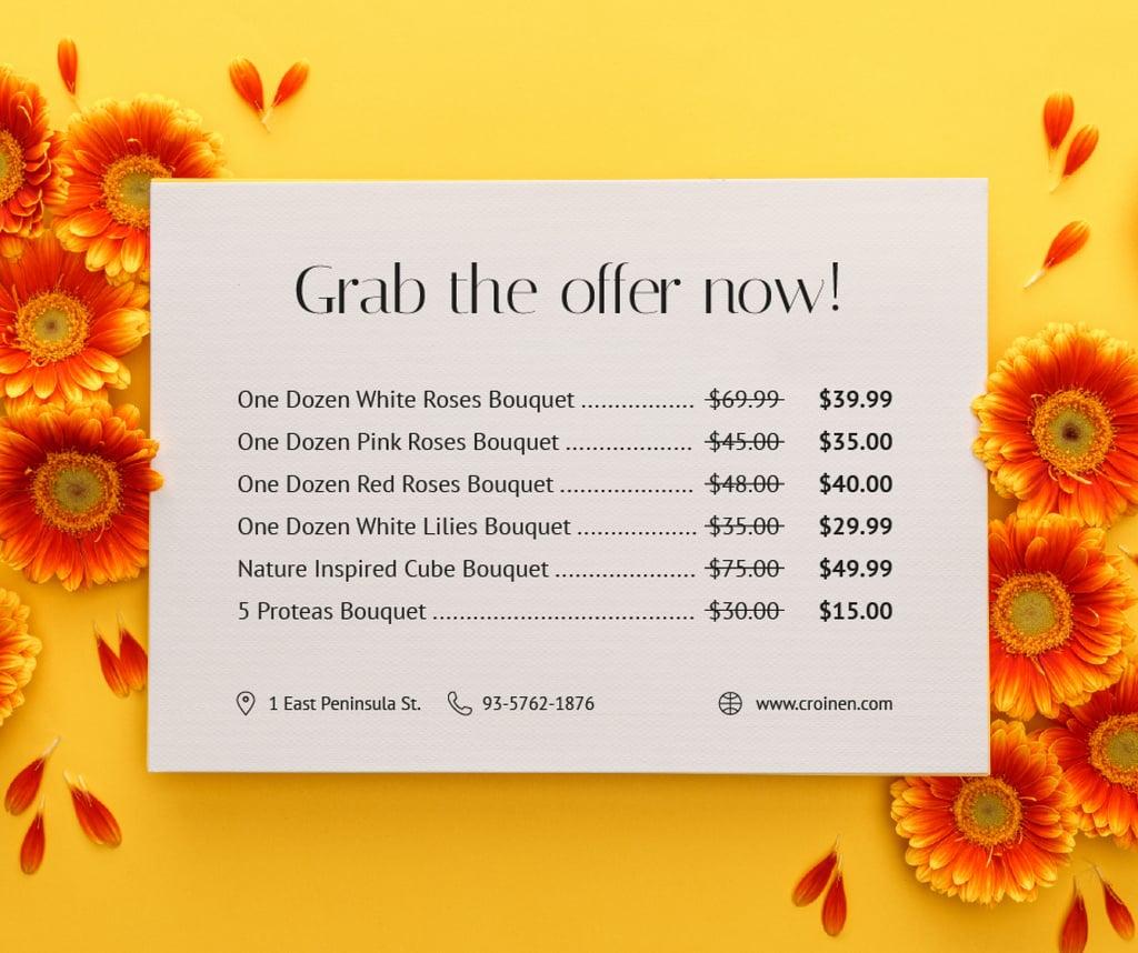 Flower Bouquets Sale Gerberas Frame — Modelo de projeto