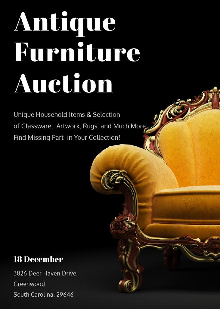 Antique Furniture Auction Luxury Yellow Armchair — Modelo de projeto